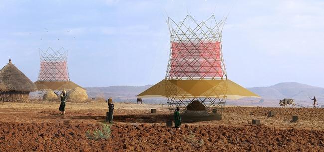 Una Torre di Bambù che produce Acqua
